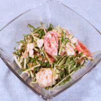 水菜とトマトの明太マヨ和え