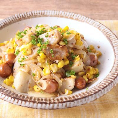 里芋とトウモロコシのジャーマンポテト風
