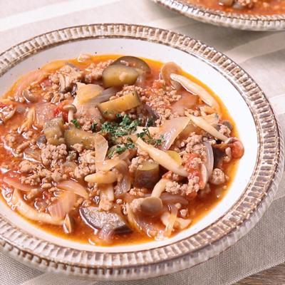 ナスとひき肉のトマト煮込みスープ