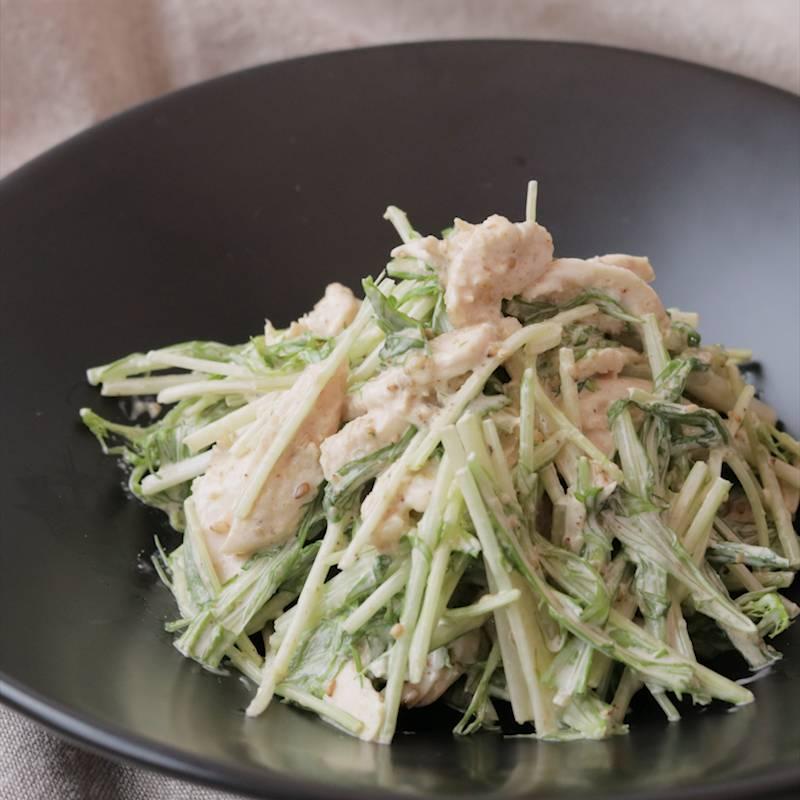 水菜と鶏ささみの胡麻マヨサラダ 作り方 レシピ クラシル