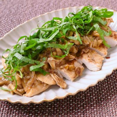 舞茸でしっとり 鶏むね肉の梅しそ焼き