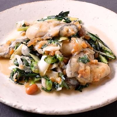 牡蠣と春菊の金山寺味噌炒め