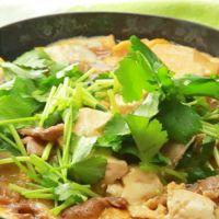 豚バラ肉と豆腐の卵とじ