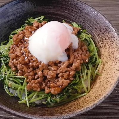 節約レシピ ボリューム満点肉豆苗丼
