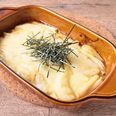 島らっきょうの味噌マヨチーズ焼き