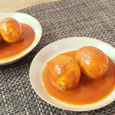 3ステップでトマトカレー味 おつまみ煮卵