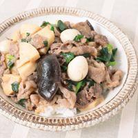 牛肉とタケノコのとろみ中華丼