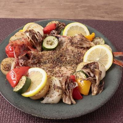 金目鯛の干物と彩り野菜のグリル焼き