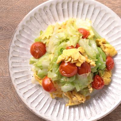 レタスとミニトマトの簡単卵炒め