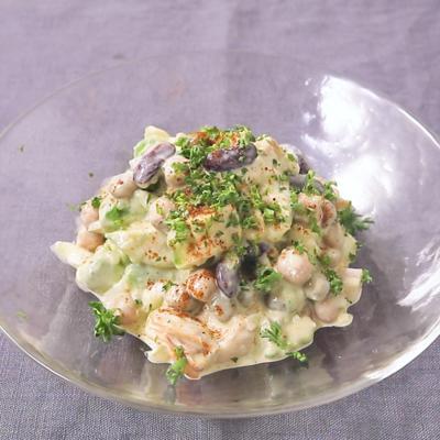 ホタテと豆のらっきょう漬けタルタルソースサラダ
