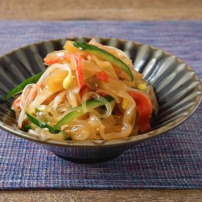 中華くらげと豆もやしのピリ辛春雨サラダ