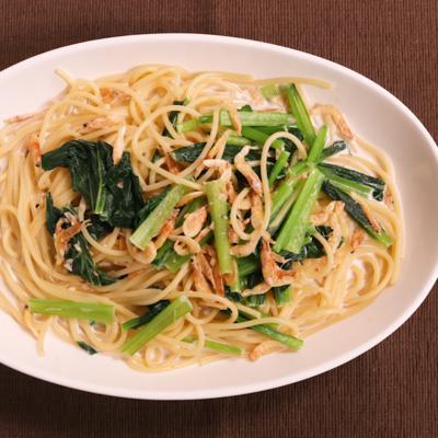 小松菜と桜エビのスープスパゲティ