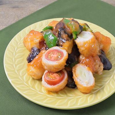 野菜くるくる肉巻き酢豚