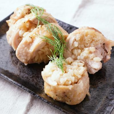 お弁当にも 鶏肉のしょうゆバターライスロール