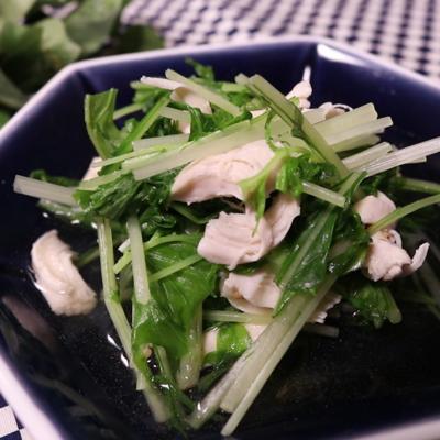 めちゃうま常備菜!水菜とササミの煮浸し