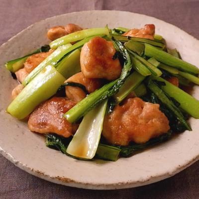 鶏もも肉と小松菜のこってり甘辛炒め
