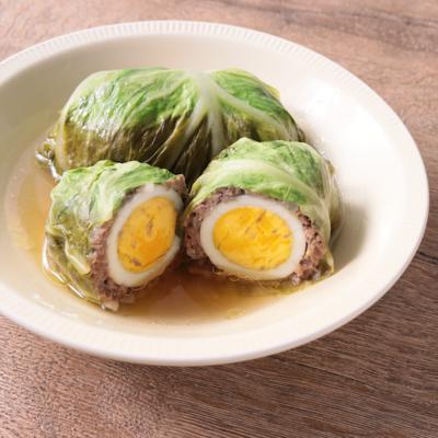 卵丸ごと ロールキャベツ
