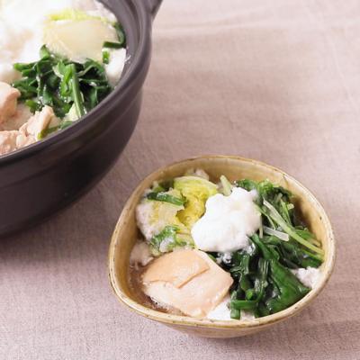たっぷり葉野菜と鶏肉のふわふわ鍋