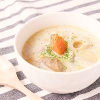 あつあつ 塩麹の根菜豆乳スープ