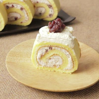 しっとり小豆クリームロールケーキ