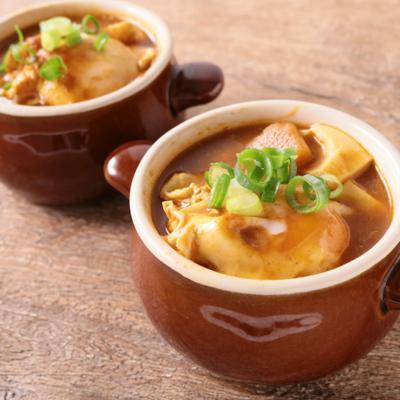 レトルトカレーと豆腐のスープ
