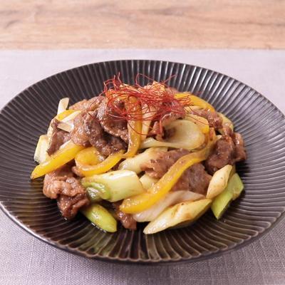 牛こま肉と長ねぎの旨辛スパイシーカレー炒め