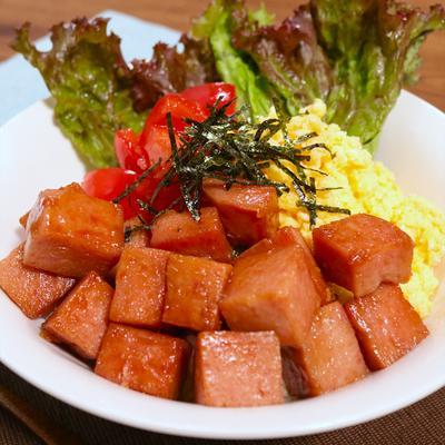おうちでカフェ飯 ランチョンミート丼
