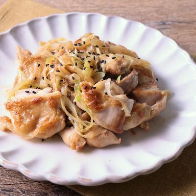 バター香る 鶏ももと長ねぎの梅ポン酢焼き