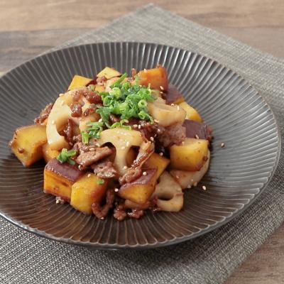 根菜と牛ひき肉の甘辛炒め