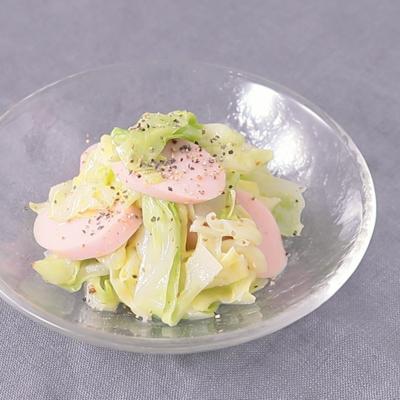 魚肉ソーセージとキャベツのマスタードサラダ