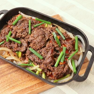グリルパンで彩り野菜と牛肉のプルコギ風