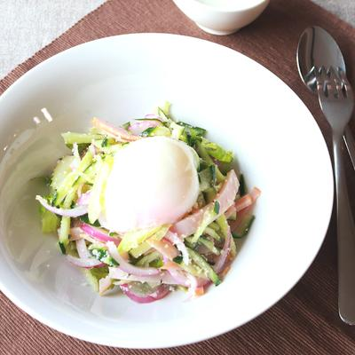 とろーり!温泉卵と香味野菜のサラダ