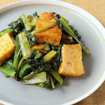 小松菜と厚揚げの甘酢炒め