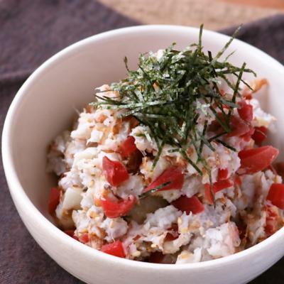 里芋とカリカリ梅の和風サラダ