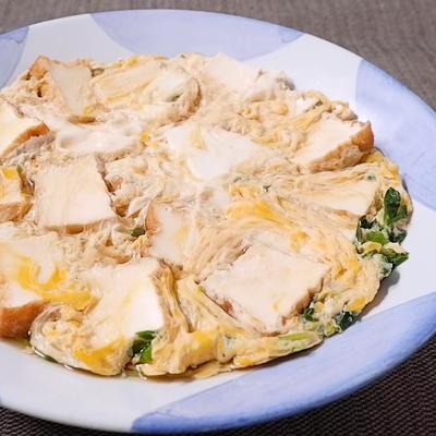 めんつゆで簡単厚揚げと豆苗の卵とじ