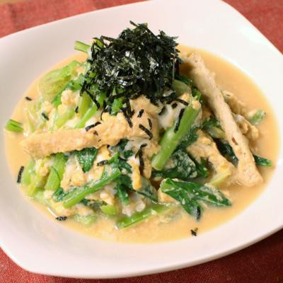 あともう一品!小松菜と油揚げの卵煮