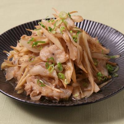ごぼうと豚バラ肉の梅ポン酢炒め