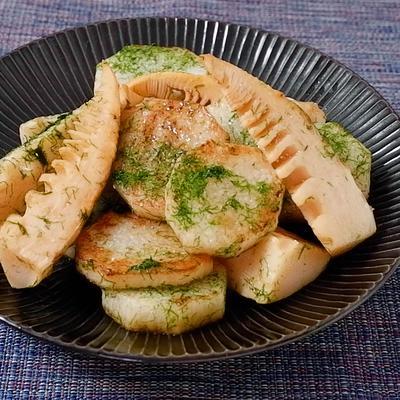 タケノコと長芋の青のり塩炒め