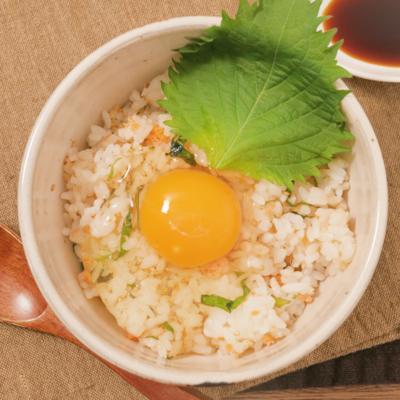 和食朝ごはん しそ鮭フレークの卵かけごはん