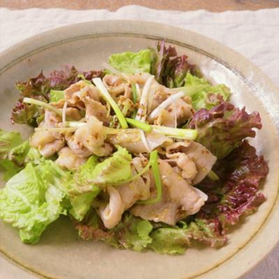 長ねぎと豚しゃぶの粒マスタード風味サラダ