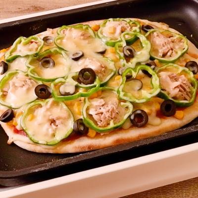 ホットプレートで作る お手軽生地のミックスピザ