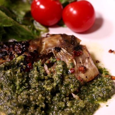 バジルソースで本格イタリアン!鯖のガーリックソテー