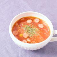 電子レンジで簡単 ウインナーのトマトスープ
