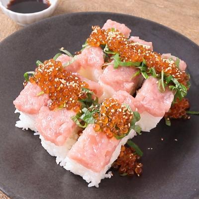 ネギトロといくらの棒寿司