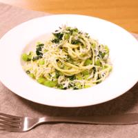 野沢菜とシラスの和風パスタ