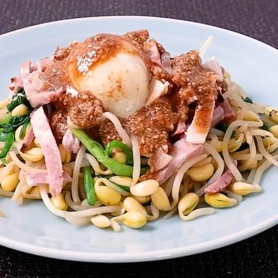 豆もやしとチャーシューの坦々風サラダ