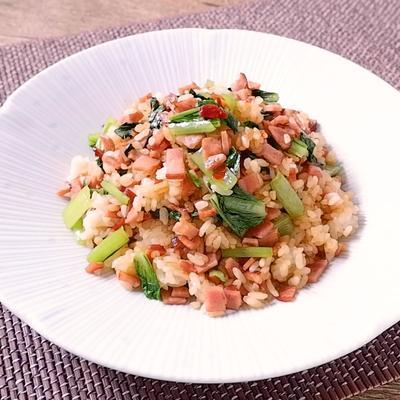 チャーシューと小松菜のピリ辛チャーハン