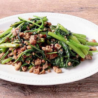 空心菜とひき肉のピリ辛炒め