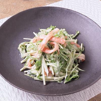 水菜とカニカマの胡麻マヨサラダ