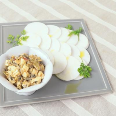 モッツァレラ高菜みそとカブの前菜